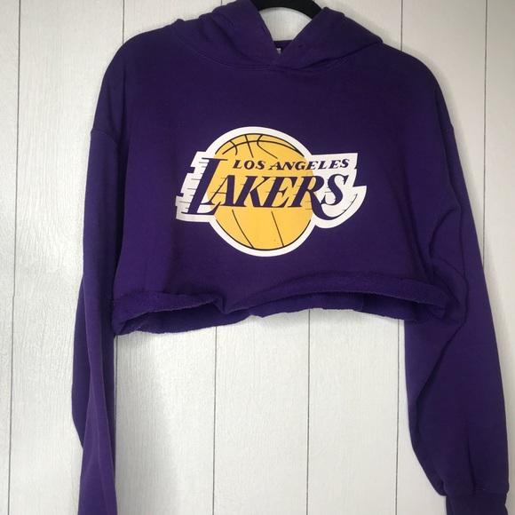 39f802fcb8b2d Los Angeles Lakers Custom Vintage Cropped Hoodie!